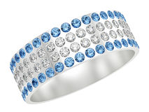 Silver ring with diamonds Stock Image