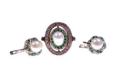 Silver ring and earrings Royalty Free Stock Images