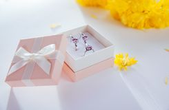 Set of silver jewellery with amethyst in the gift box with yellow flowers Royalty Free Stock Images
