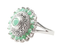 Silver ring with emerald Royalty Free Stock Photos