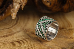Silver ring with emerald Stock Photo