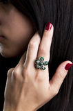 Silver ring with green onyx Stock Image