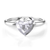 Silver ring with heart shaped diamond Stock Photo