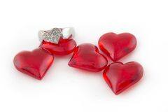 Silver Ring with Hearts Stock Image