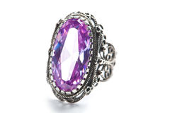 Silver ring with huge amethyst isolated Stock Image