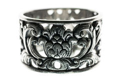 Silver ring macro isolated Royalty Free Stock Image