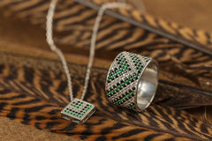 Silver ring and necklace with emerald Stock Images