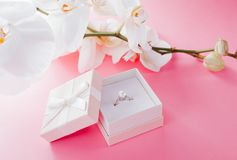 Silver ring with pearl in the gift box. With white orchid Royalty Free Stock Photography