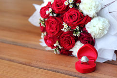 Silver ring with pearl in red box Stock Photography