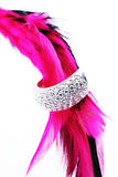Silver ring with pink feather Stock Photo