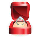 Silver ring in a red box Royalty Free Stock Image