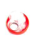 Silver ring in red jewelery box Stock Photo