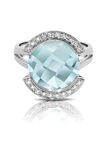 Silver ring set with a blue gemstone Royalty Free Stock Photos