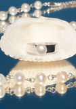Silver ring with a single pearl Stock Photo