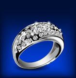Silver ring with some diamonds. Vector Royalty Free Stock Photography