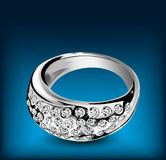 Silver ring with some diamonds. Vector Stock Photography