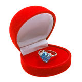 Silver ring with topaz in red box Royalty Free Stock Photo