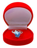 Silver ring with topaz in red box Royalty Free Stock Photos