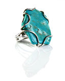 Silver ring with turquoise Royalty Free Stock Photography