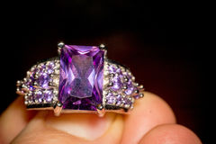 Silver Ring With Amethyst Royalty Free Stock Photo