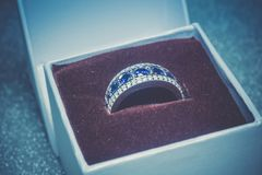Silver Ring With Tanzanite Retro Royalty Free Stock Images