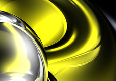 Silver ring in yellow light 02. A Study of Form&Colors, rendered in Bryce Stock Image
