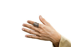 Silver ringer på fingrar Royaltyfria Bilder