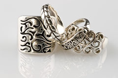 Silver rings. It is photographed with reflexion Stock Photography
