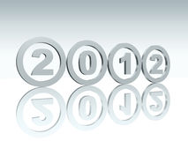 Silver rings 2012. 3d silver rings with figures with text 2012 Stock Photography