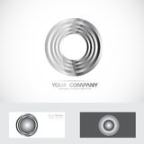 Silver rings circle abstract logo Stock Photo