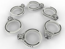 Silver rings circular pattern. 3D render illustration of six silver rings arranged in a circular pattern. The composition is isolated on a white background with stock illustration