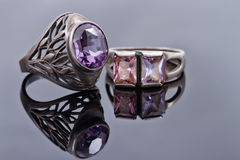 Silver rings old style with purple gems Stock Photography