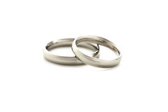 Silver rings. Silver wedding rings isolated on a white Stock Photo