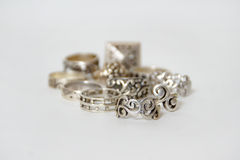 Silver rings  on white Royalty Free Stock Images