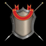 Silver riveted shield with red ribbon and two spears. Silver riveted shield with red ribbon and two spears on black background for the design Royalty Free Stock Photos