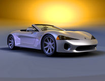 Silver roadster front view 1 Royalty Free Stock Image