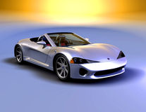 Silver roadster front view 2 Royalty Free Stock Images