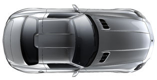 Silver roadster - top view Stock Image