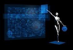 Silver robot girl computing stock illustration