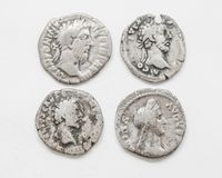 Silver Roman coins 4-5 century AD, rough work, small portraits emperors. Silver Roman coins 4-5 century AD, rough work, small portraits of emperors stock photography