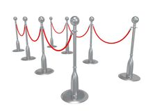 Silver rope barrier over white Stock Photography