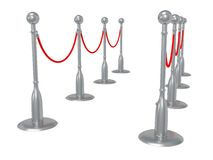 Silver rope barrier over white Stock Photos