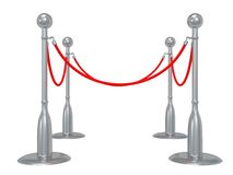 Silver rope barrier over white Royalty Free Stock Photo