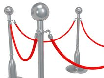 Silver rope barrier over white Royalty Free Stock Images