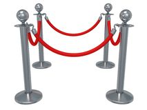 Silver rope barrier over white Royalty Free Stock Photography