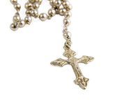 Silver rosary. Rosary isolated in white background Stock Photo