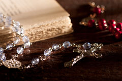 Silver Rosary with Book Stock Images