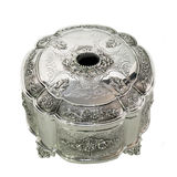 Silver round box Royalty Free Stock Images