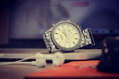 Silver Round Chronograph Watch Royalty Free Stock Photo