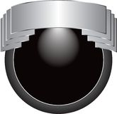 Silver round crest. Silver and black round crest Stock Image